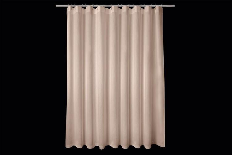 Rideau de douche en lin blanc h 210 cm x l225 cm for Systeme rideau de douche