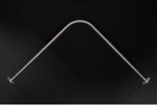 Tringle rideau de douche GalboBain sur mesure en inox brossé - modèle d'angle