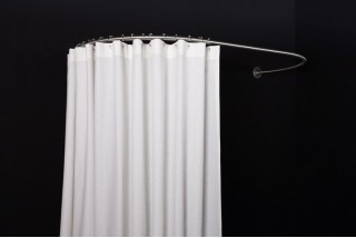 GalboBain oval wall shower rod 80-160 and high end shower curtain