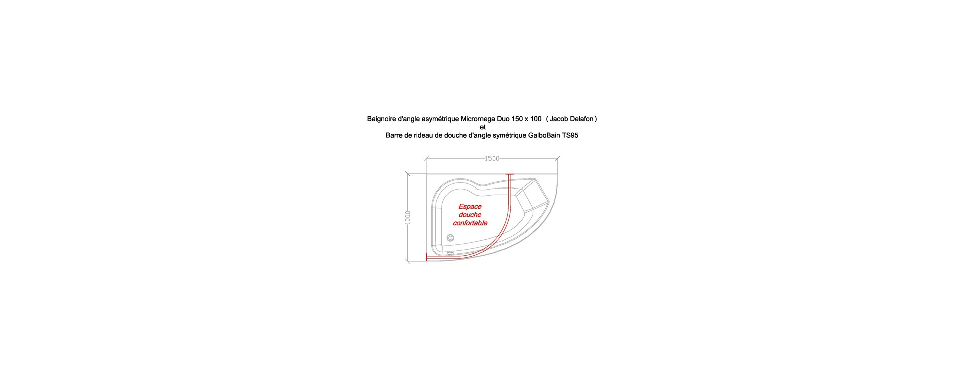 Baignoire asym trique micromega duo de jacob delafon et cabine de douche d 39 angle sym trique - Barre de baignoire d angle ...