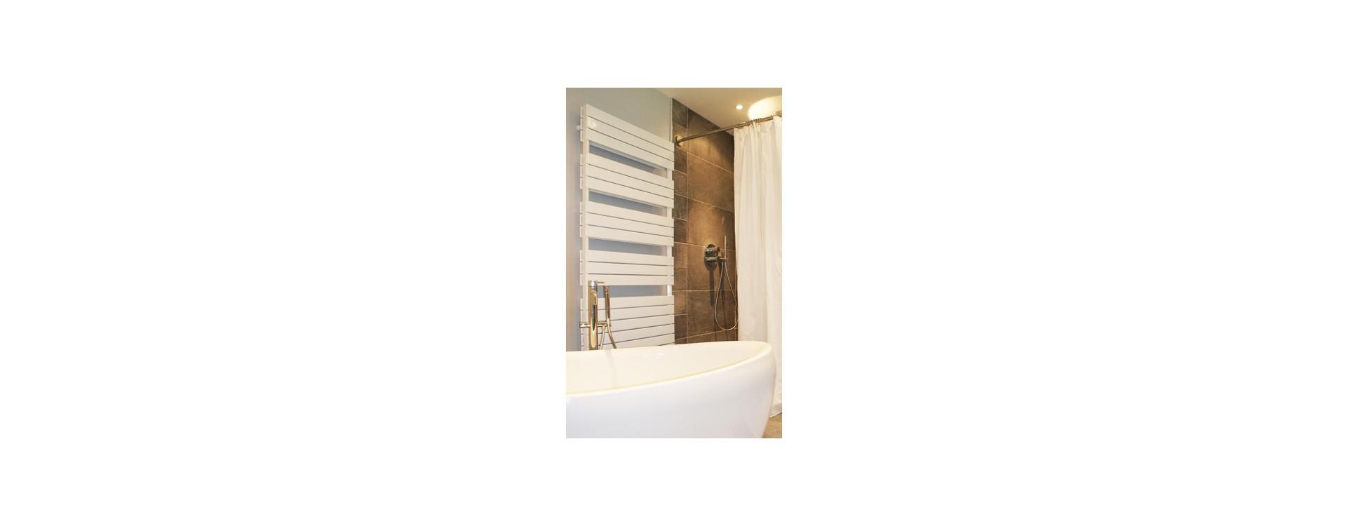 Salle de bain moderne et spacieuse avec baignoire ilot et douche italienne