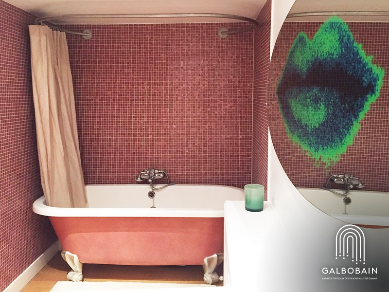 tringle rideau de douche ovale murale et baignoire ilot