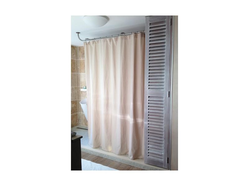 Barre et rideau de douche sur-mesure pour douche à l'italienne double XXL