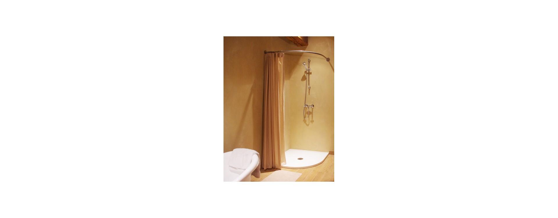 Porte rideau GalboBain TS95 et bac de douche quart de rond 100x100