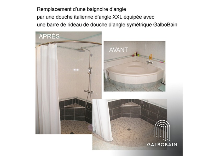 remplacement d 39 une baignoire d 39 angle par une douche galbobain. Black Bedroom Furniture Sets. Home Design Ideas