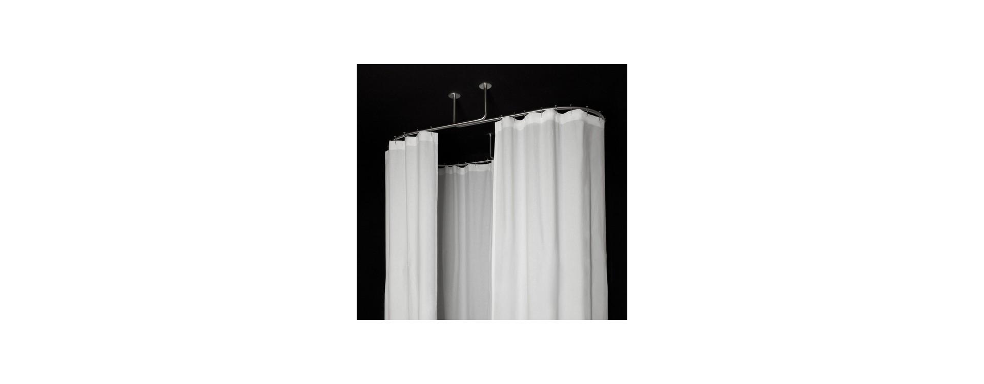 Barre Rideau Fixation Plafond dispositif de tringles galbobain ovale pour baignoire ilot